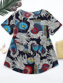 Round Neck Floral Print Blouse - Floral L