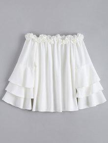Ruffle Trim Tiered Flare Sleeve Blouse - White S