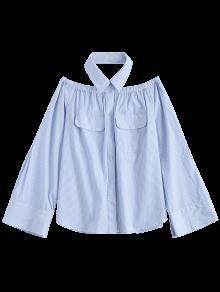 De Bolsillo A Claro Rayas 243;n La Bot Blusa Azul M De Tw57WOq