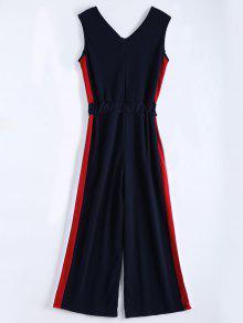 V Neck Sleeveless Contrast Jumpsuit - Purplish Blue L