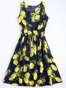 Limón Imprimir Vestido Sin Mangas Con Cordón - Marina De Guerra L