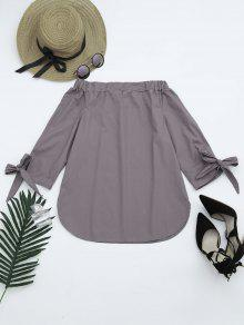 Off The Shoulder Longline Blouse - Smoky Gray S