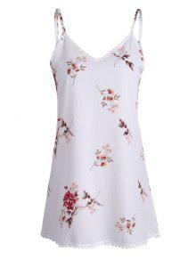 فستان طباعة الأزهار مصغر - أبيض L