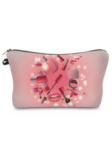 Buy 3D Cosmetics Print Clutch Makeup Bag - PINK