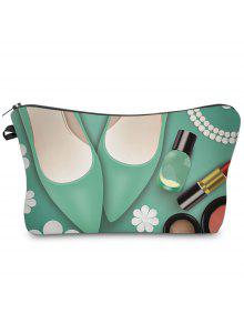 Buy 3D Cosmetics Print Clutch Makeup Bag - GREEN
