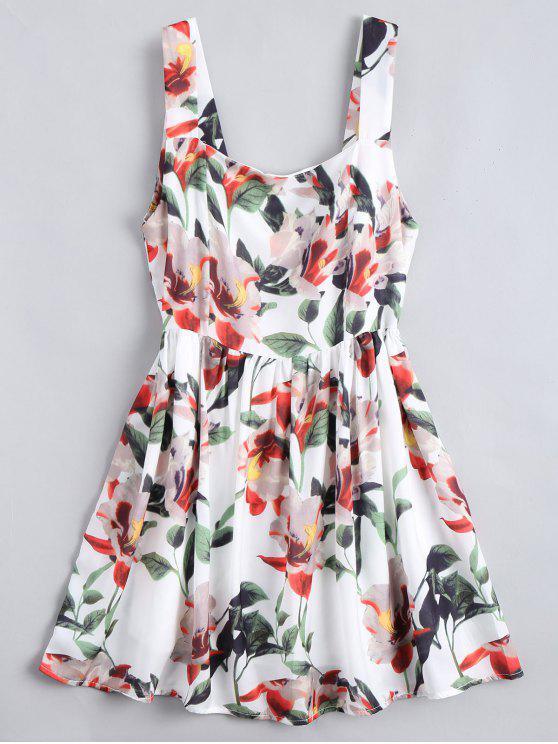 مصغر A فستان سحاب الظهر زهري بخط - الأزهار L