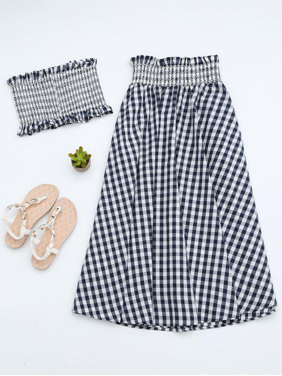 988701a1b8 43% OFF  2019 Ruffles Smocked Tube Top And Checked A-Line Maxi Skirt ...