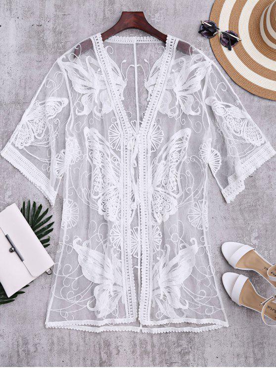 Kimono escarpado bordado de la mariposa cubre para arriba - Blanco Única Talla