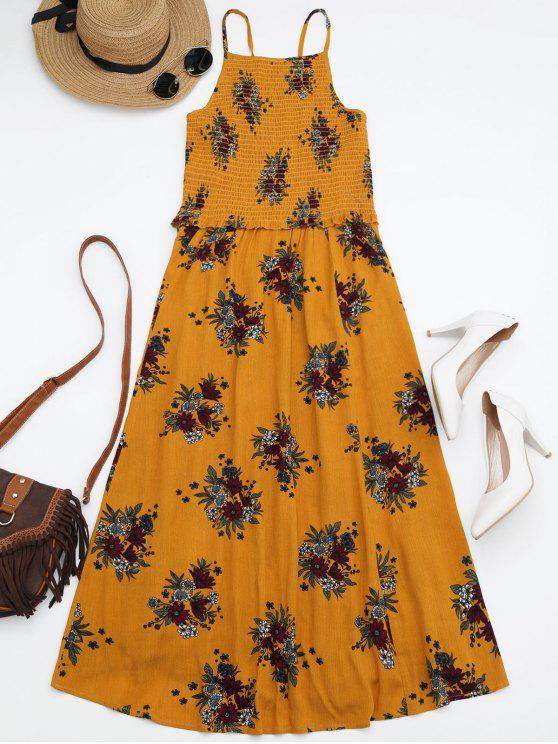 Robe Midi A Line Smockée Florale - Jaune L