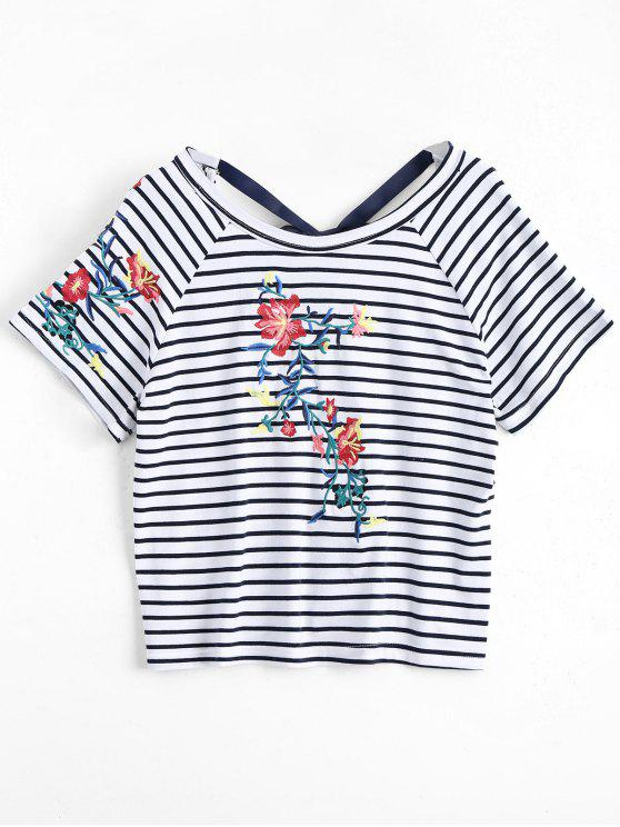 hot Stripes Floral Embroidered Bowknot Top - STRIPE S