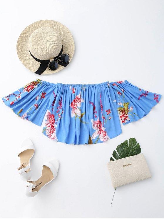 fancy Floral Loose Off Shoulder Top - BLUE XL
