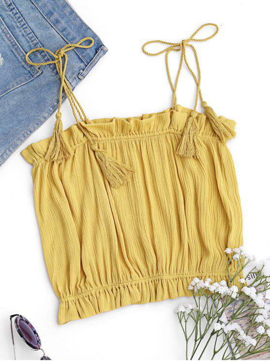 Cropped Ruffles Tassels Tank Top - Amarillo S