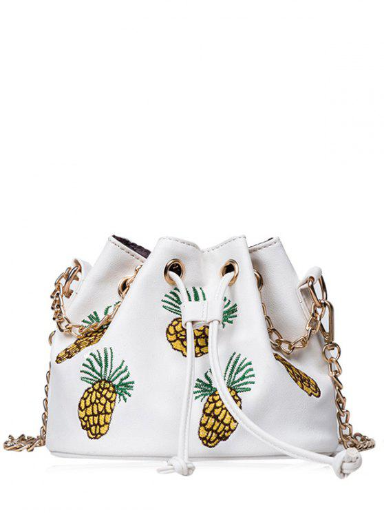 Pineapple Embroidered Chain Bucket Bag - White