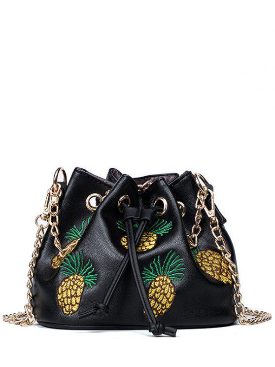 women Pineapple Embroidered Chain Bucket Bag - BLACK