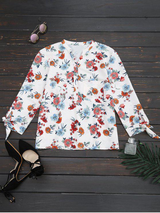 best Loose Floral Bowknot Blouse - FLORAL S