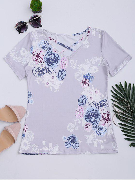 trendy Criss Cross Floral Print V Neck Tee - LAVENDER FROST M