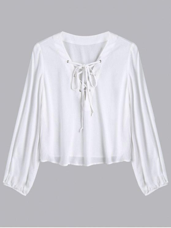 buy Lace Up Plunging Neck Blouse - WHITE S