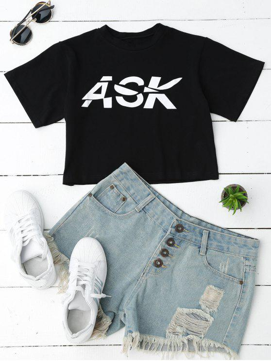 T-shirt à manches courtes motifs lettres - Noir S