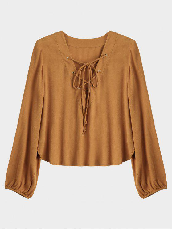 shop Lace Up Plunging Neck Blouse - EARTHY L