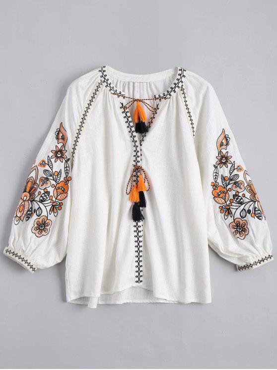 sale String Tassels Embroidered Blouse - WHITE M