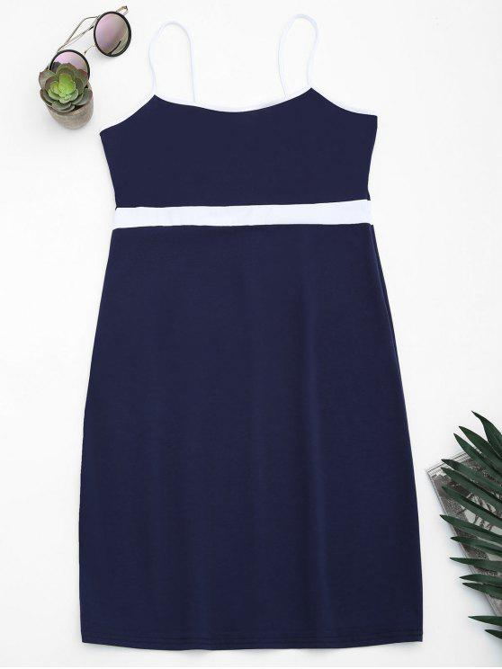 women Two Tone Bodycon Slip Mini Dress - PURPLISH BLUE S