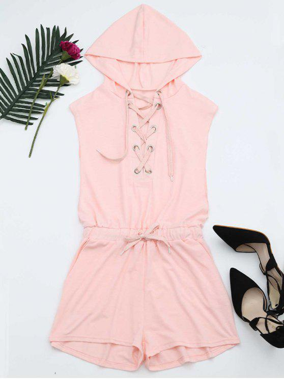 latest Lace Up Drawstring Hooded Romper - PINK S
