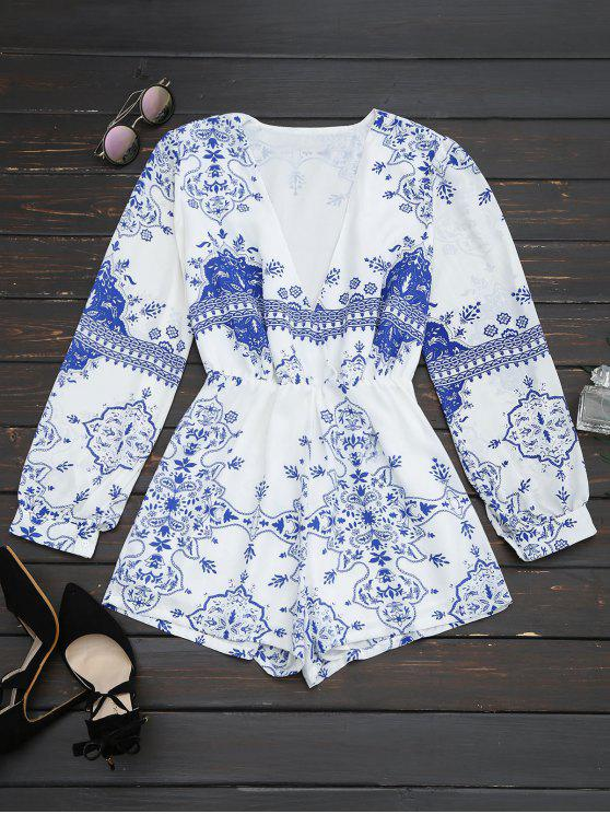 buy Plunge Printed Chiffon Romper - BLUE AND WHITE S