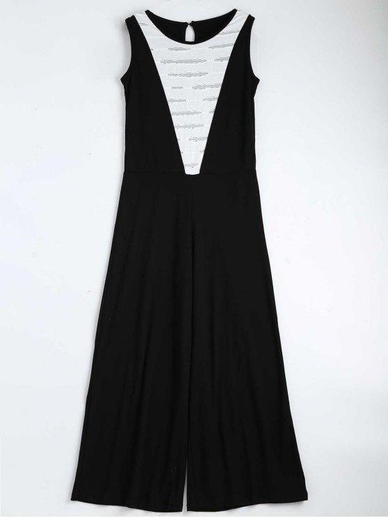 women Contrast Ripped Sleeveless Jumpsuit - BLACK M