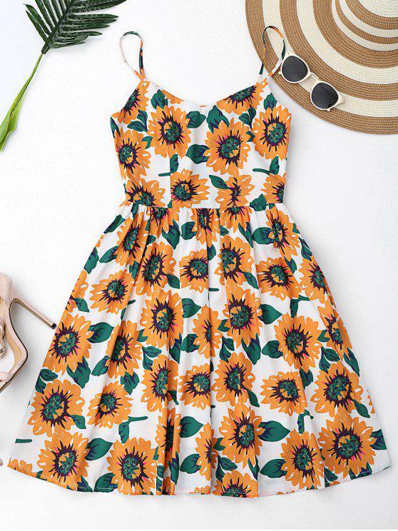 فستان زهري قطع متقاطع مصغر - أبيض L