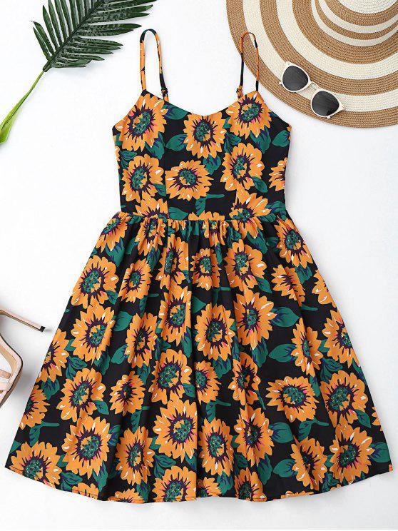 فستان زهري قطع متقاطع مصغر - أسود M