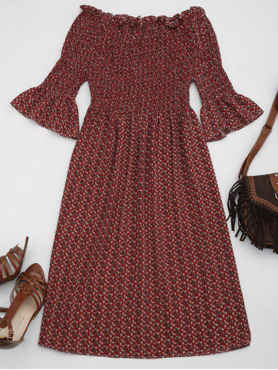 chic Smocked Floral Off Shoulder A-Line Dress - WINE RED S
