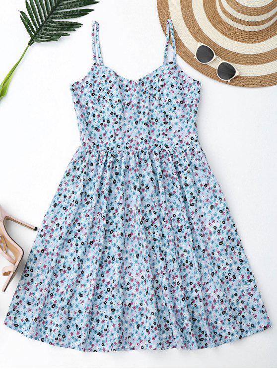 فستان زهري قطع متقاطع مصغر - الضوء الأزرق M
