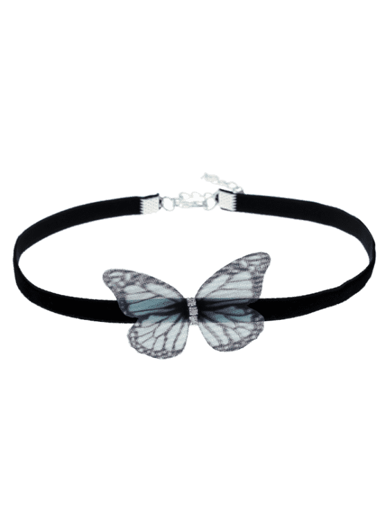 Embrulhado Butterfly Choker Necklace - Preto