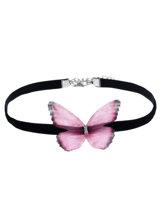 ladies Embellished Butterfly Choker Necklace - PINK