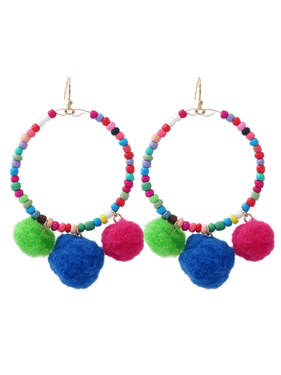 new Fuzz Ball Circle Beaded Hook Earrings - COLORMIX