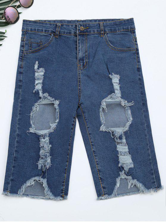 buy Ripped Cut Out Denim Shorts - DENIM BLUE XL