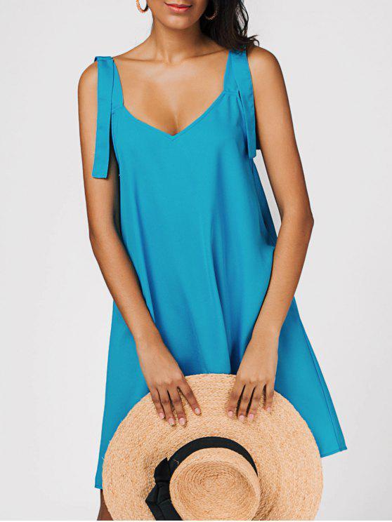 فستان الشيفون بلا أكمام مريح سوينغ - البحيرة الزرقاء XL
