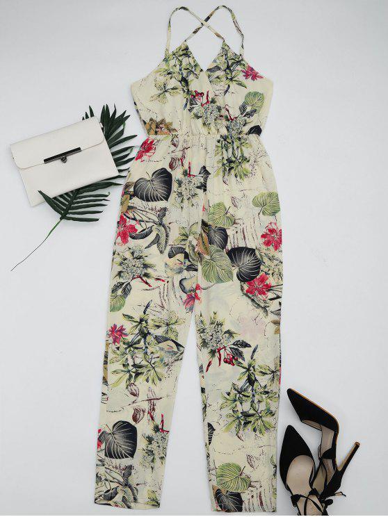 Hojas Imprimir Criss Cross Cami Jumpsuit - Multi XL