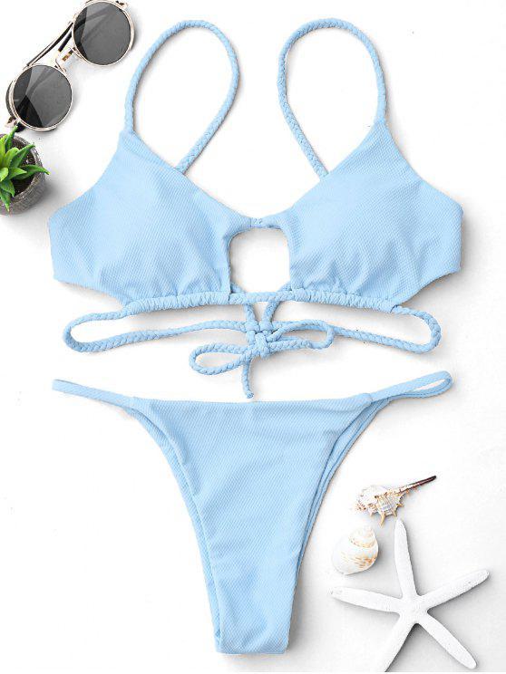 Geflochtene Bralette String Bikini Set mit Loch - Hellblau M