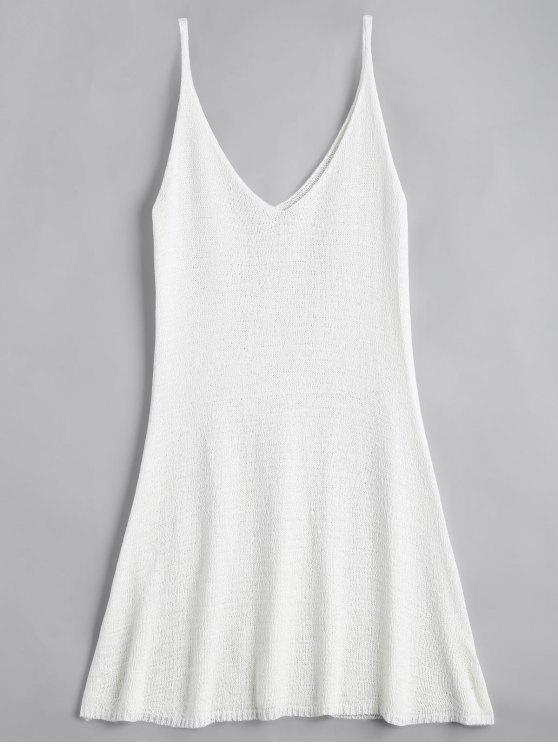 Mini Vestido en A Línea con Tirante Fino - Blanco Única Talla