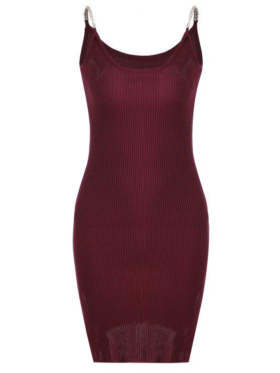 Robe grise en tricot et à rayures latérales - Rouge Foncé TAILLE MOYENNE