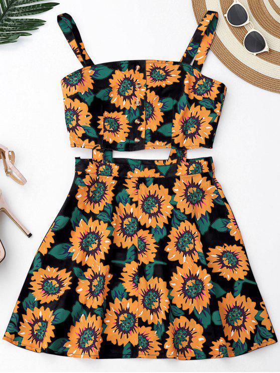 Robe mini florale à moitié boutonnée avec découpes - Noir S