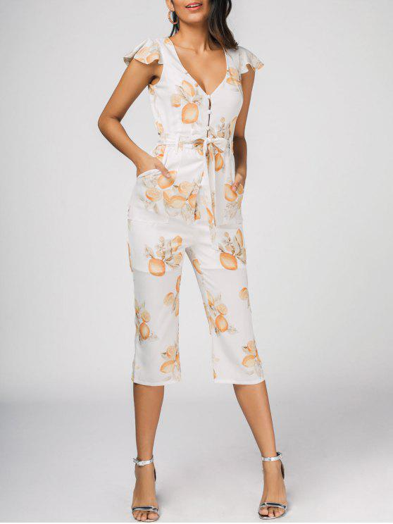 outfits Belted Ruffles Lemon Jumpsuit - WHITE 2XL