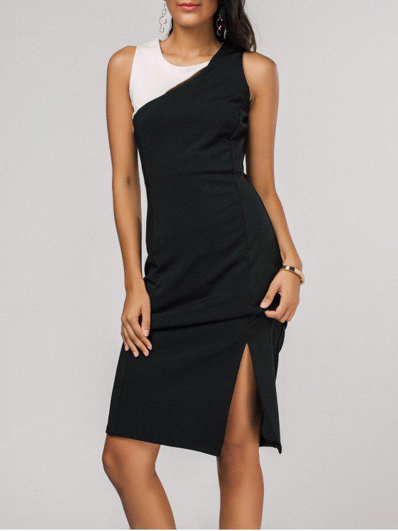 chic Side Slit Color Block Sheath Dress - BLACK XL