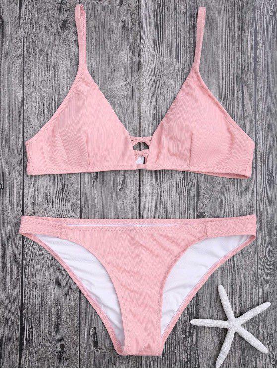 trendy Criss Cross Spaghetti Strap Texture Bikini Set - PINK XL