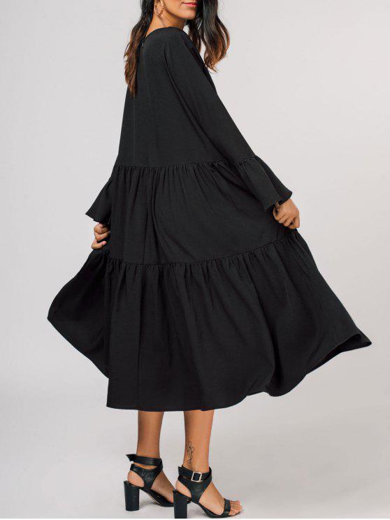 Robe mi-mollet à manches évasées - Noir XL