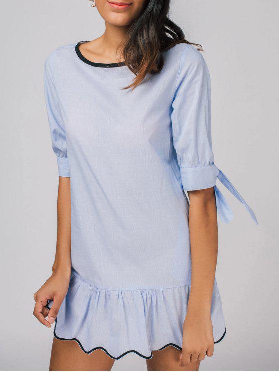 فستان كشكش بونوت مصغر عادي - أزرق فاتح M