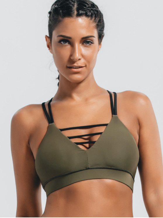 women Padded Double Straps Strappy Sporty Bra - ARMY GREEN S