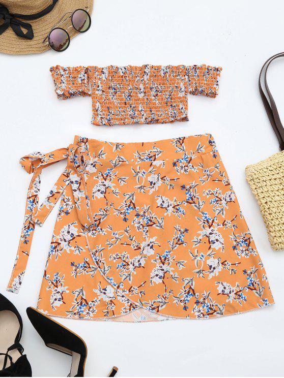 online Floral Print Crop Top and Skirt Set - FLORAL L