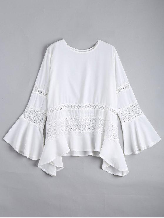 women Hollow Out Flare Sleeve Asymmetric Blouse - WHITE L